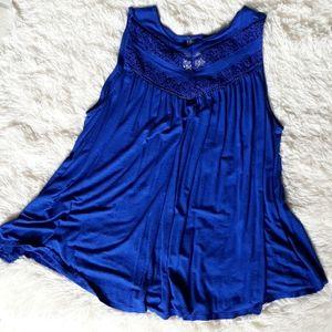 Blue lacy tank